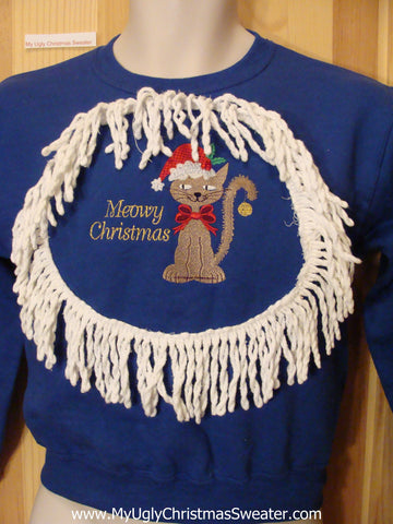 Child Tacky Christmas Sweatshirt Santa Cat