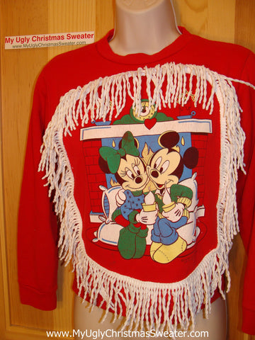 Ugly Christmas Tacky Sweatshirt Mickey Minnie Fringe Child Size (q13)