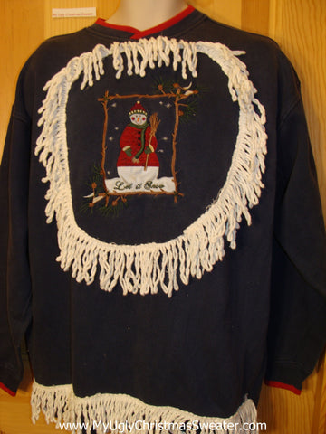 Tacky Christmas Sweatshirt Cheesy Snowman and Fringe
