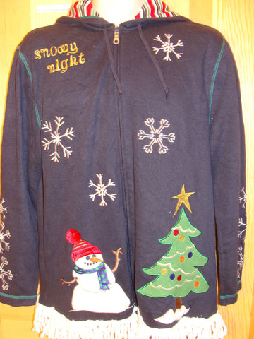 Tacky Christmas Sweatshirt Hoodie Snowman and Fringe