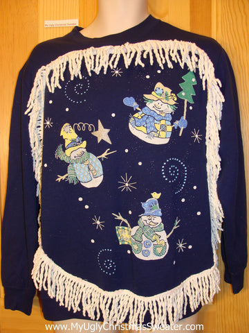 Tacky Christmas Sweatshirt Flying Snowmen and Fringe
