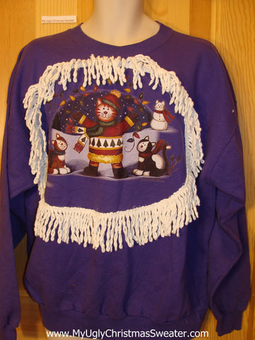 Tacky Purple Christmas Sweatshirt with Cats and Fringe