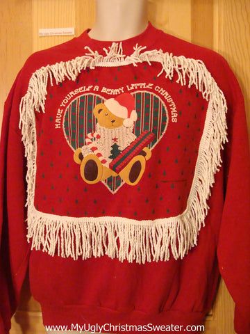 Tacky Christmas Sweatshirt Bear BERRY CHRISTMAS