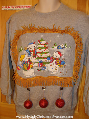 Ugly Christmas Tacky Sweatshirt 3D Ornaments Snowman Family with Fringe (q14)