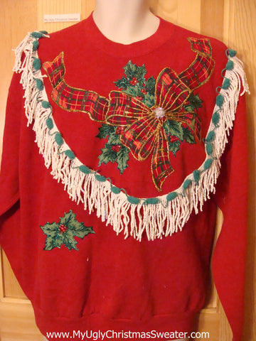 Tacky Christmas Sweatshirt Homemade Plaid Bow