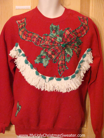 Tacky Christmas Sweatshirt Plaid Ribbon and Bow