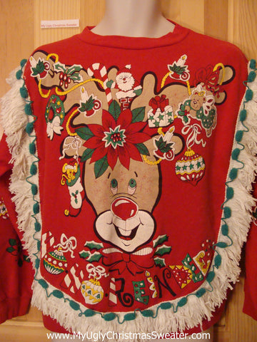 Funny Christmas Sweatshirt Horrible 80s Reindeer Fringe