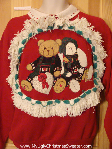 Christmas Sweatshirt Teddy Bears and Heart Chocolates