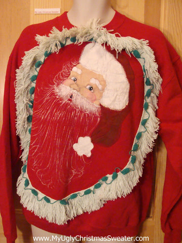 Tacky Christmas Sweatshirt Surprised Santa and Fringe