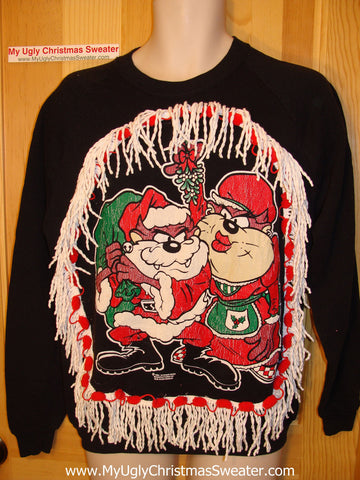 Ugly Christmas Tacky Sweatshirt Cartoon Villains with Fringe (q15)