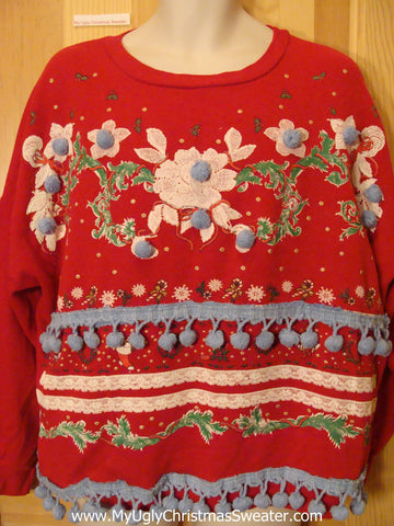 Tacky Christmas Sweatshirt 80s Flowers and PomPom Trim