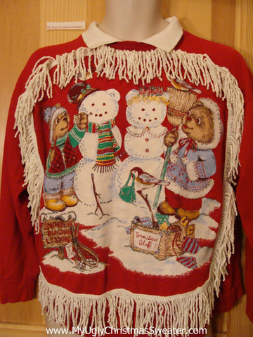 Funny Christmas Sweatshirt Snowbear Decorating Lessons