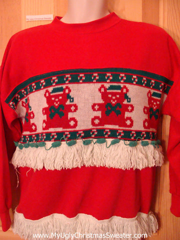 Tacky Christmas Sweatshirt Teddy Bears and Fringe