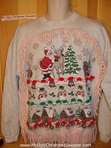 Ugly Christmas Tacky Sweatshirt 80s Santa with Fringe (q16)