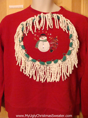 Tacky Christmas Sweatshirt Snowman Bling Tree