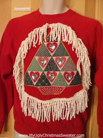 Tacky Christmas Sweatshirt Bling Plaid Tree and Fringe