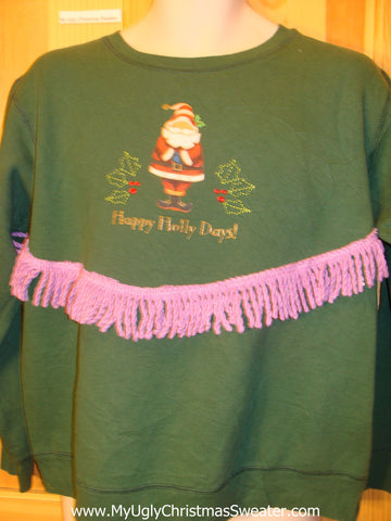 Tacky Christmas Sweatshirt HAPPY HOLLY DAYS