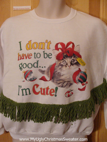 Tacky Christmas Sweatshirt Cheesy CAT with Fringe