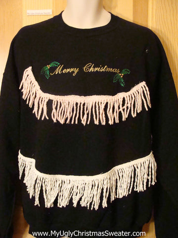 Tacky Christmas Sweatshirt MERRY CHRISTMAS Fringe