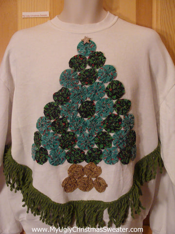 Homemade Christmas Sweatshirt Quilt Wheels Tree Fringe