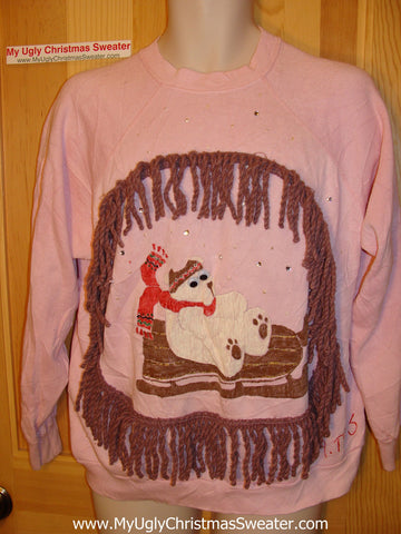 Ugly Christmas Tacky Sweatshirt Google Eyed Crafty Polar Bear with Fringe (q18)