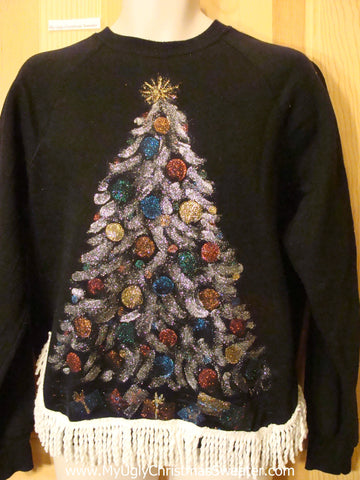Tacky Christmas Sweatshirt with Homamade Tree Fringe