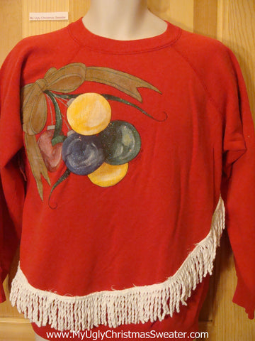 Tacky Christmas Sweatshirt Colorful Berries Homemade