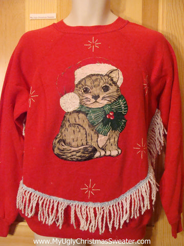 Tacky Christmas Sweatshirt Homemade Huge Cat