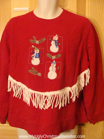 Tacky Christmas Sweatshirt with Snowmen and Fringe
