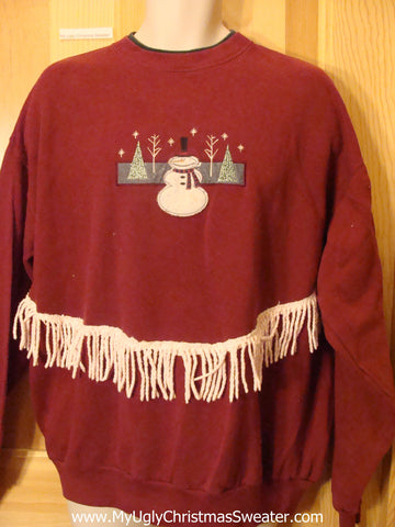 Tacky Christmas Sweatshirt with Festive Snowman and Fringe