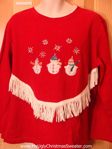Tacky Red Christmas Sweatshirt with Snowman Fringe