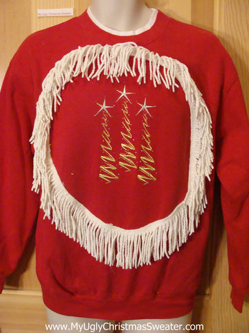 Tacky Cheap Christmas Sweatshirt with Fringe