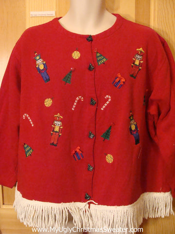 Tacky Red Christmas Sweatshirt with Fringe
