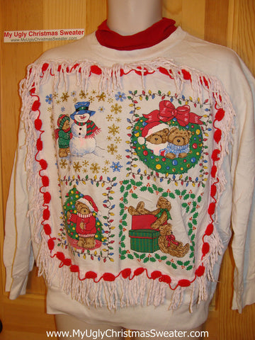 Ugly Christmas Tacky Sweatshirt 80s Retro Cutsie Bears with Fringe (q20)