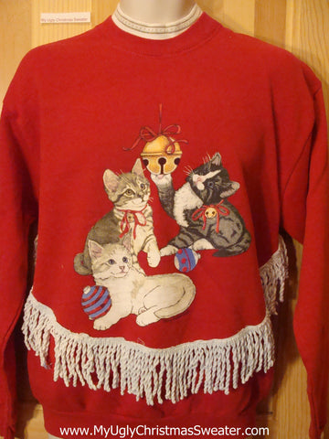 Tacky Cheap Christmas Sweatshirt with Cats