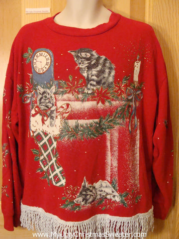 Tacky Crazy Cat Lady Christmas Sweatshirt