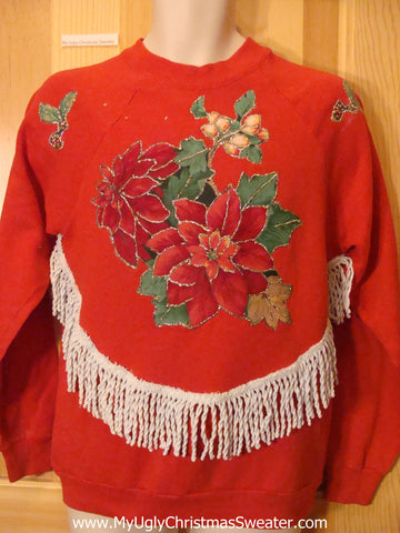 Tacky Cheap Christmas Sweatshirt with Poinsettias