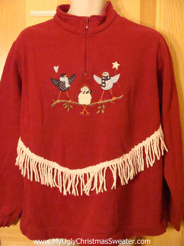 Tacky Cheap Christmas Sweatshirt with Birds and Fringe