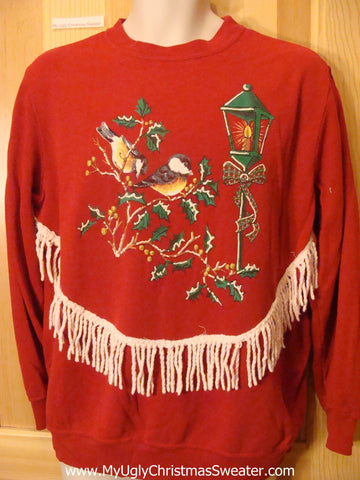 Tacky Cheap Christmas Sweatshirt Birds and Fringe