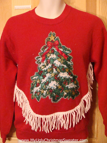 Tacky Cheap Christmas Sweatshirt with Tree and Fringe