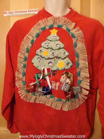 Ugly Christmas Tacky Sweatshirt 3D Gifts Tree Fringe (q21)