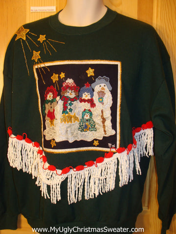 Tacky Cheap Christmas Sweatshirt Snowmen Stars and Fringe