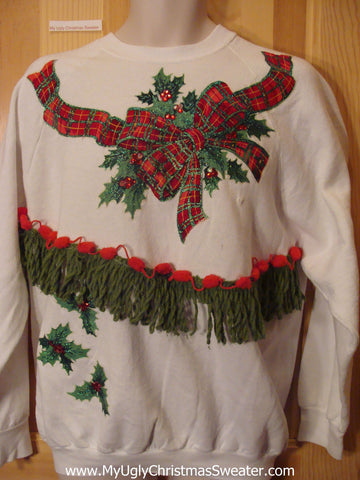 Tacky Cheap Christmas Sweatshirt with Plaid Bow and Fringe