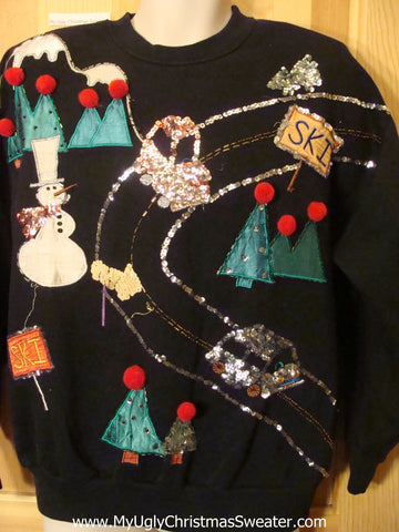 Tacky Cheap Homemade Christmas Sweatshirt with Bling