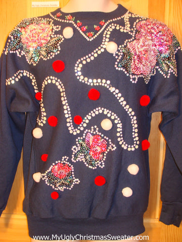 Tacky Cheap Christmas Sweatshirt Horrible 3D Bling