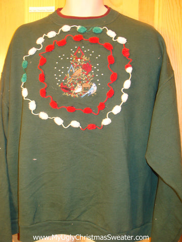 Tacky Cheap Christmas Sweatshirt Birds PomPom Trim