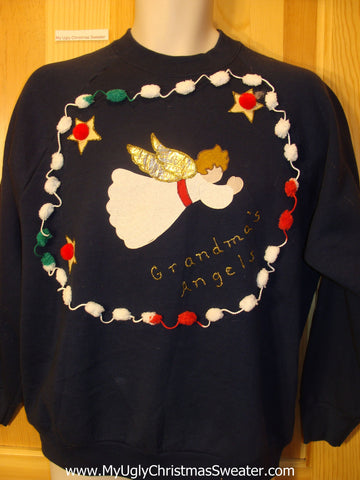 Tacky Cheap Christmas Sweatshirt GRANDMAS ANGEL