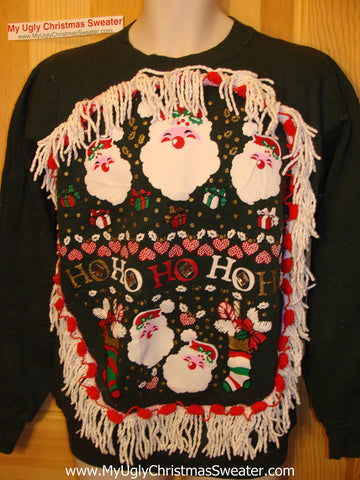 Ugly Christmas Tacky Sweatshirt HoHoHo Santa with Fringe (q22)