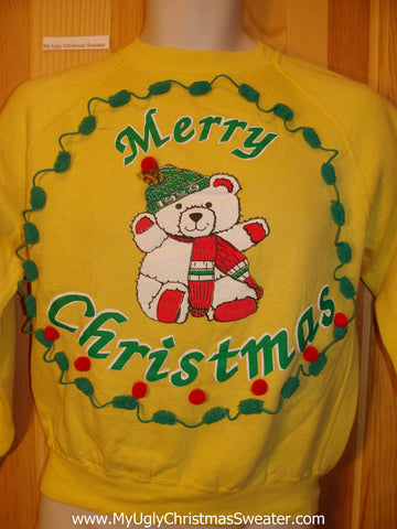 Tacky Cheap Christmas Sweatshirt Bear 3D Trim