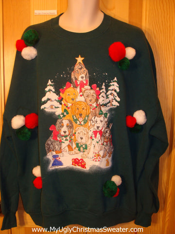 Tacky Christmas Sweatshirt Dog Tree Pyramid 3D PomPoms